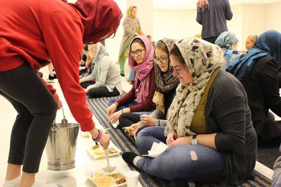 Students participating in Langar